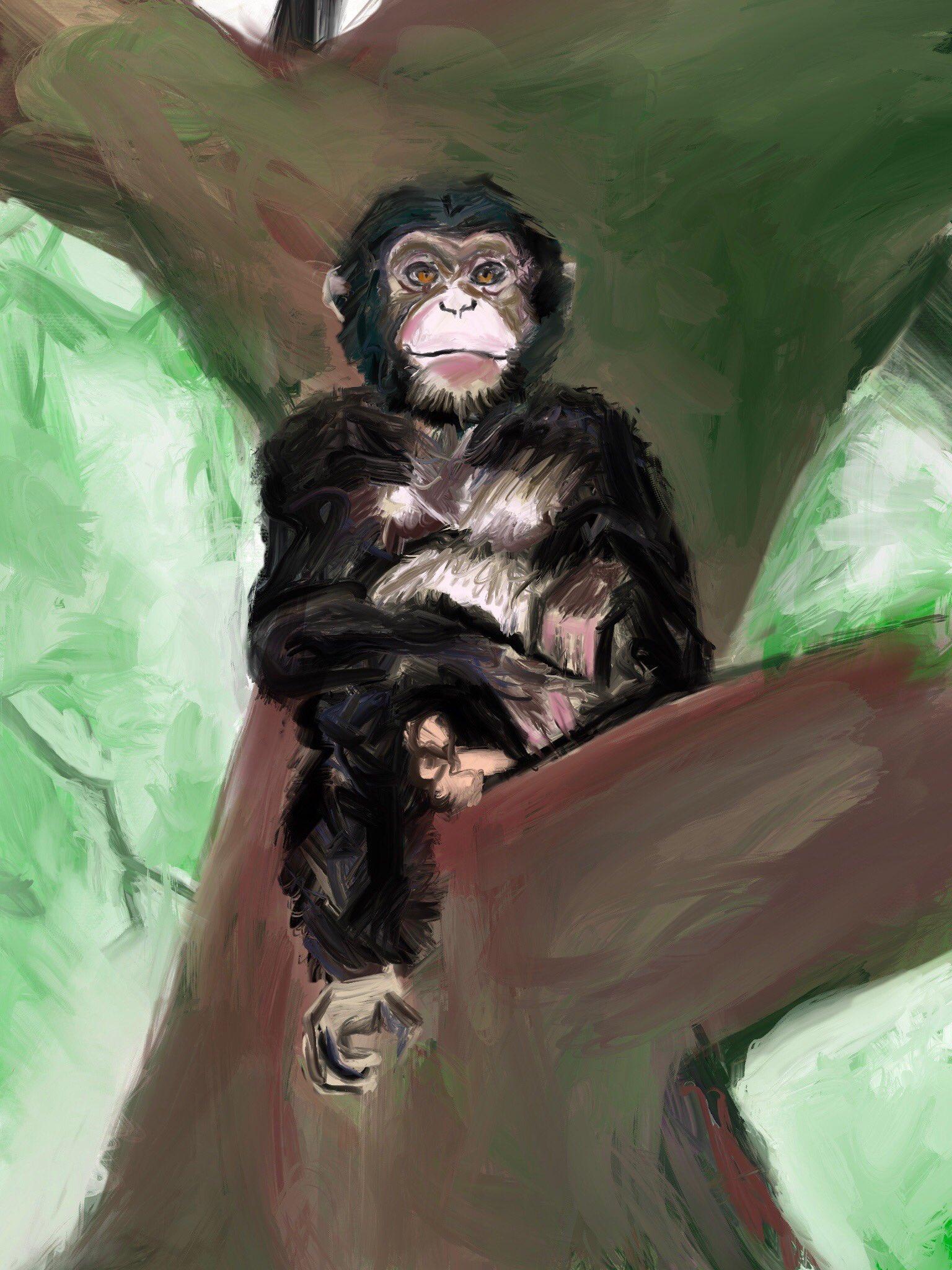 Chimpanzee in tree by Oscar Frederick Welsh