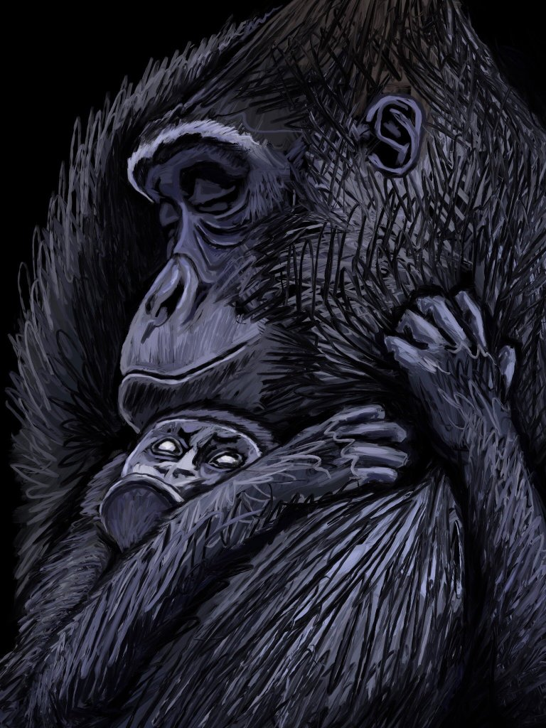Gorilla mum and baby by Oscar Frederick Welsh