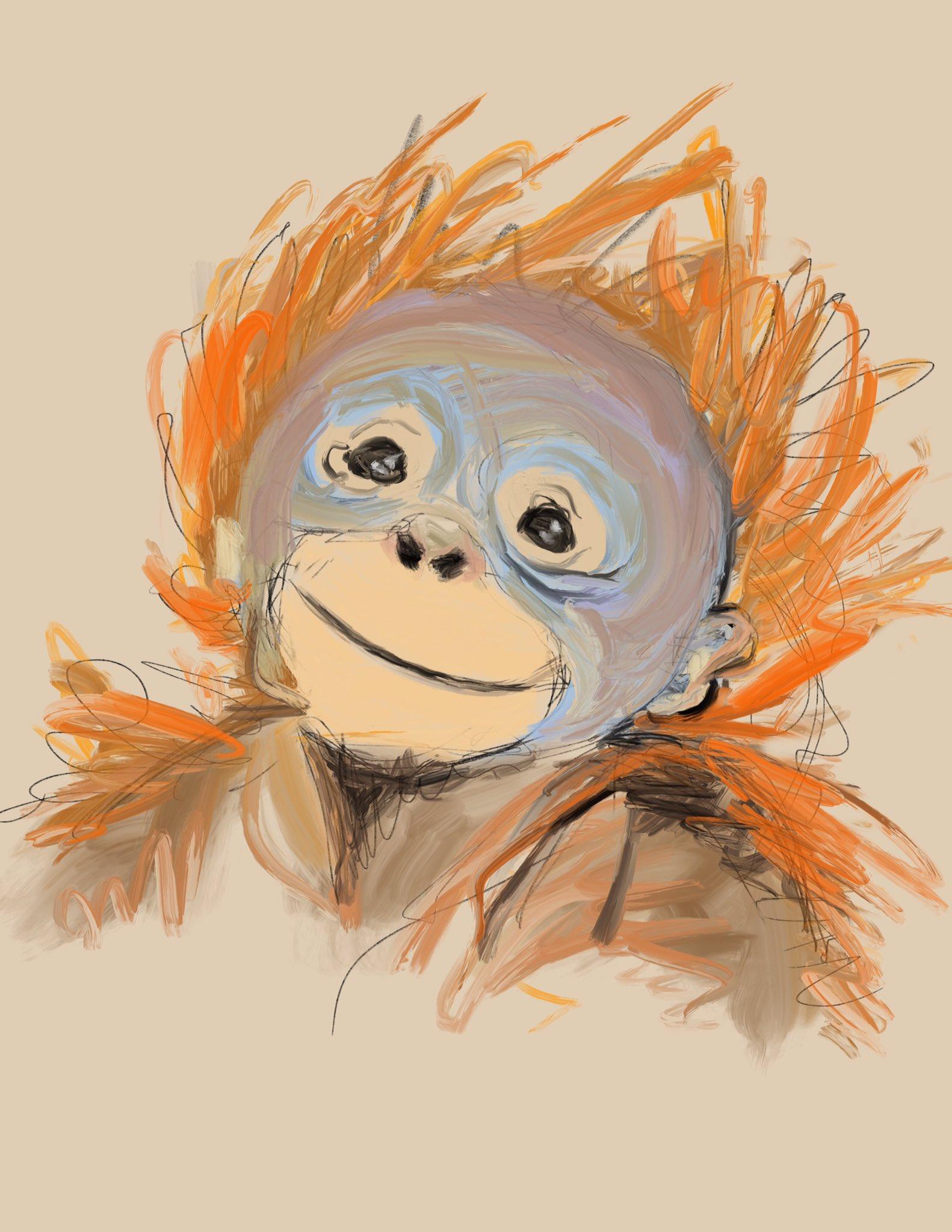 Baby Orangutan by Oscar Frederick Welsh