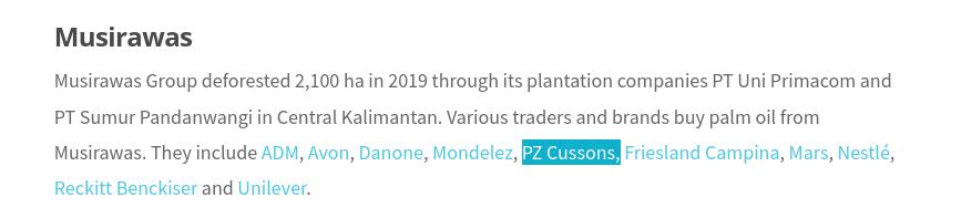 PZ Cussons Musirawas palm oil deforestation