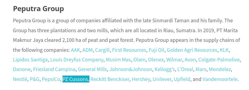 PZ Cussons Peputra group palm oil deforestation