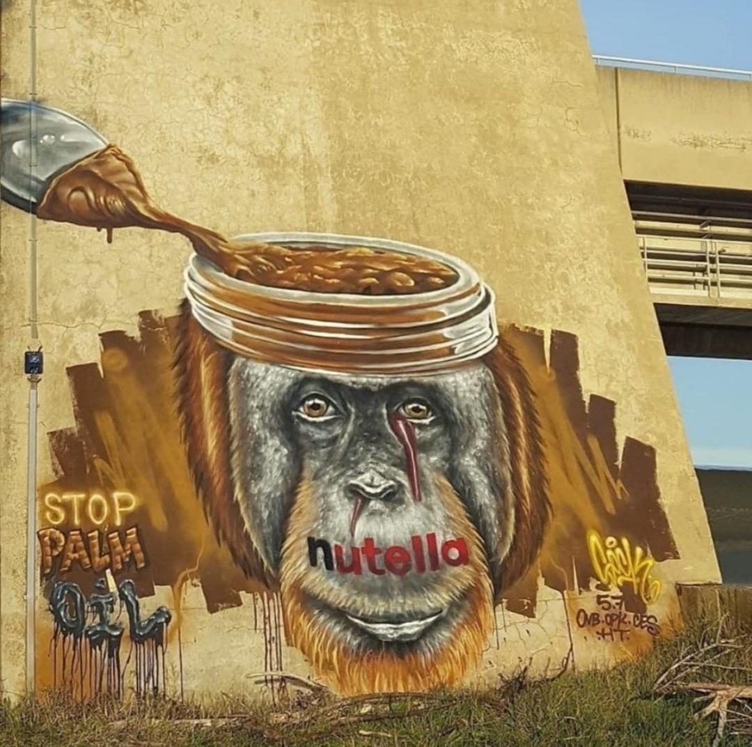 Nutella Ferrero and palm oil street art - by Sock Wild Sketch
